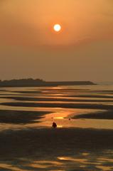 真玉海岸2020 2月-1 夕陽とカメラマン