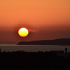 九州道古賀SA2021 4月 夕陽と島
