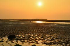 真玉海岸2020 2月-1 夕陽と砂紋