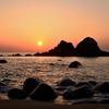 櫻井二見が浦2021 4月 夕陽と夫婦岩