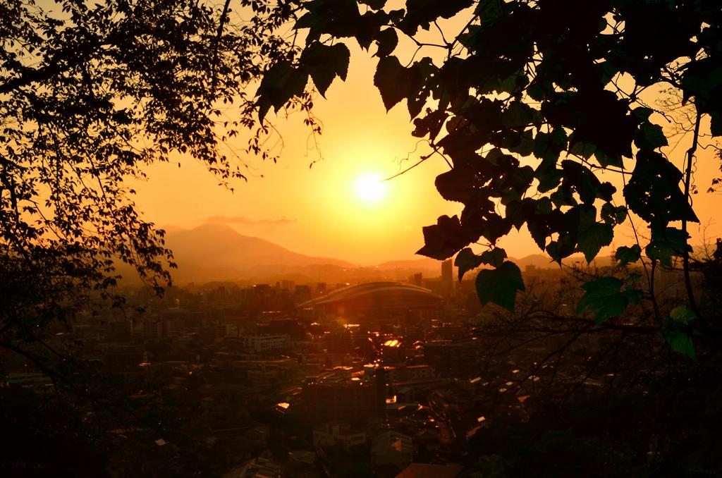K市2021 10月 夕陽と光の道