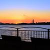 関門海峡2020 12月 ベンチと夕景
