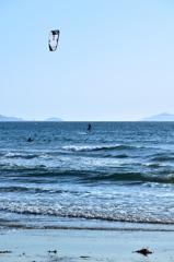 岩屋海岸2020 5月 カイトサーフィンと鐘が岬と地島