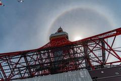 東京タワーの虹の輪(ハロ現象?) 作例4