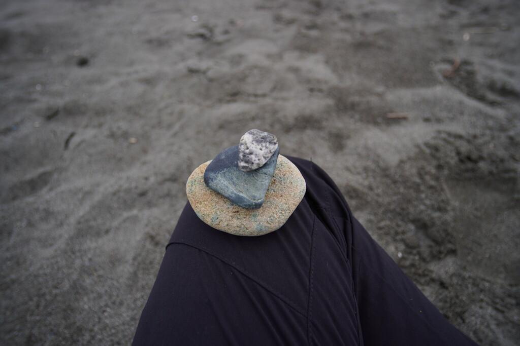 砂浜で拾った石