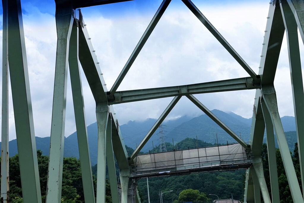 鉄橋と山々