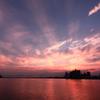 夕焼け光線江の島
