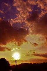青と夕焼け