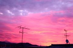 静岡の夜明け前 左手に小さな富士山