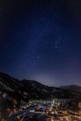 白川郷 冬の星空