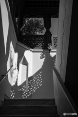 light and shadow and stair hall