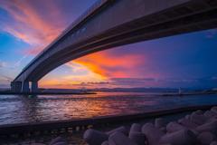 夕日と浜名大橋
