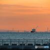 東京湾横断道路の海上ルートと貨物船 東京湾望遠景