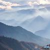 日光中禅寺湖 半月山展望所の近くより 足尾方面のやまなみ