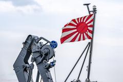 えのしま型掃海艇 3番艇 MSC-606 はつしま 艇尾旗竿 自衛艦旗