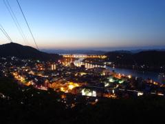 広島県尾道港の朝夜景