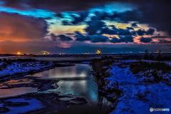 北海道・石狩湾 冬の夕景