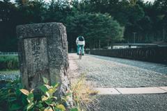 橋と自転車