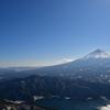 雪頭ヶ岳からの富士山と西湖と河口湖