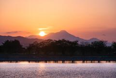 雲仙に沈む夕日