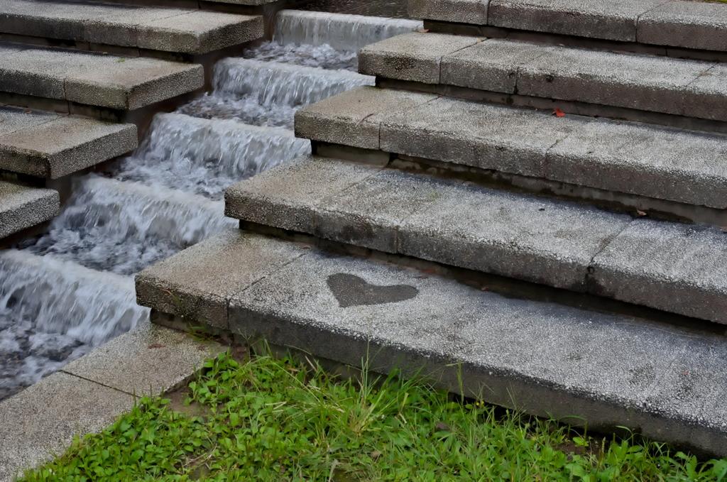 ハートがある階段