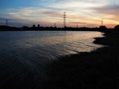 真夏の夕景・手賀沼