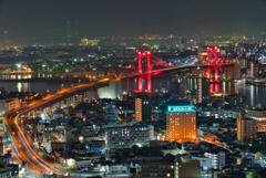 高塔山からの若戸大橋