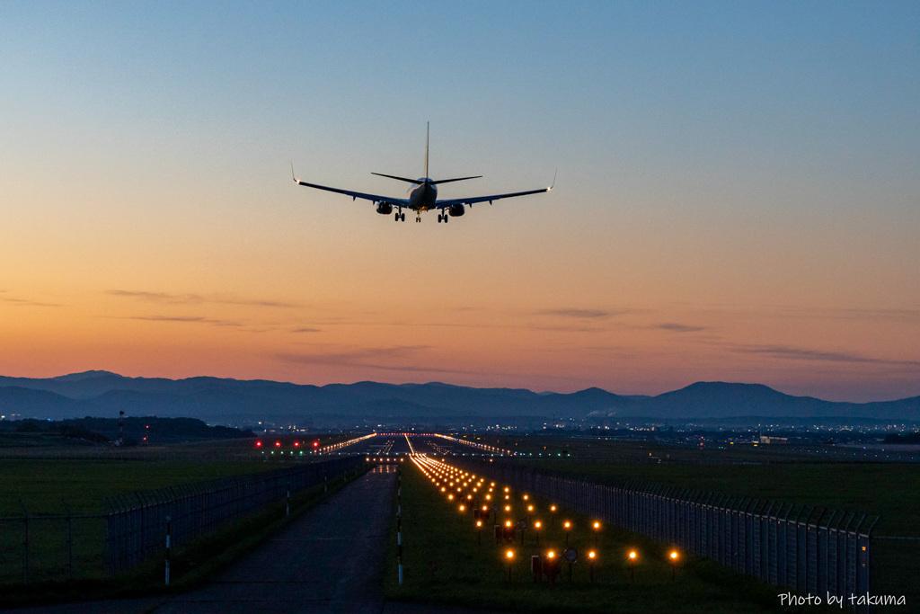 マジックアワーの旭川空港