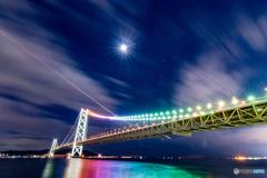 明石大橋と神戸空港着 飛行機