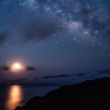 月の出と夏の天の川