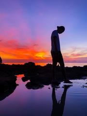 島を離れる日、最後の夕焼け