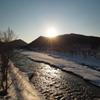 夕日の湧別川