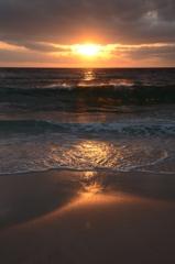 白良浜での夕日