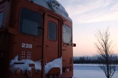 電車と夕日
