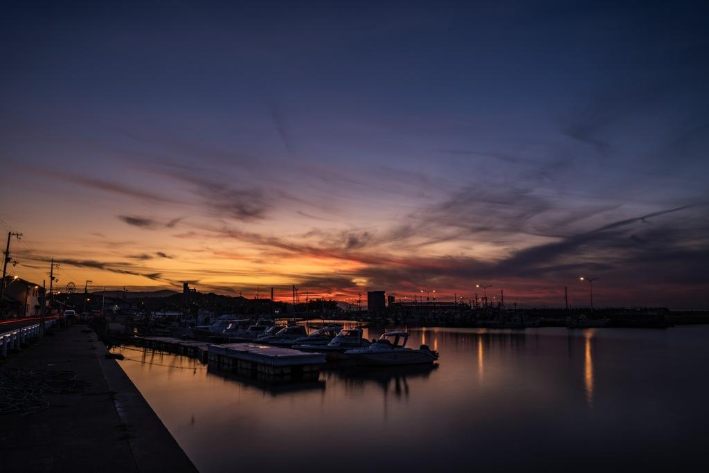 漁港の夕焼け