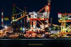 HDR工場夜景 ガントリークレーン