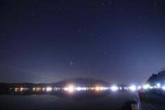 山中湖 富士山 逆さ富士 オリオン座