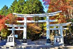三峯神社参道入り口の珍しい三つ鳥居(三輪鳥居)