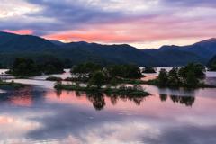 秋元湖の朝Ⅲ