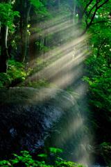 光る滝 光芒あらわる