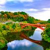 信貴山寺に通じる赤い橋