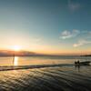 夕暮れの江川海岸潮干狩場