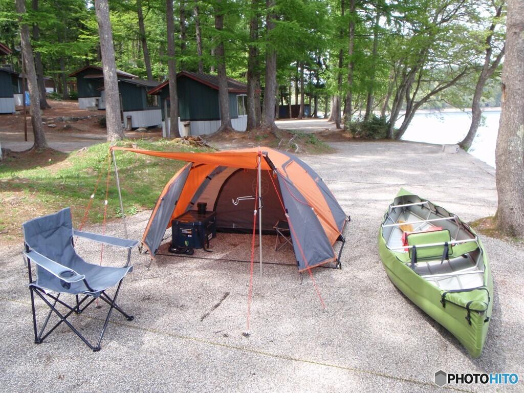 長野県青木湖 ひとりカヌーキャンプ
