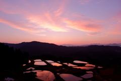 朝焼けの棚池