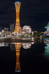 port-tower reflects