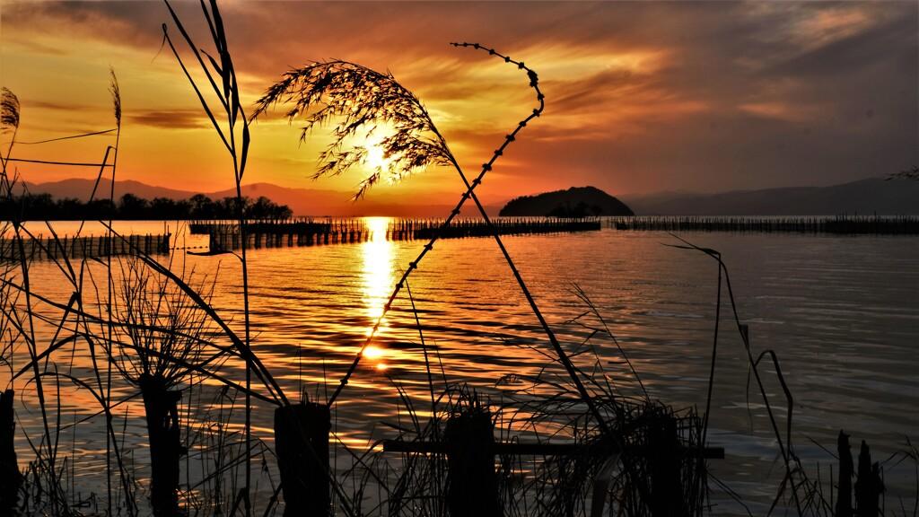 Lake Biwa north sunseet