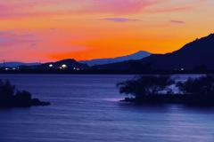 西の湖夕暮れ