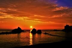 越前河野夕日