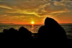 恒久の烏帽子岩夕刻 Ⅰ