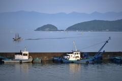 琵琶湖沖島朝景
